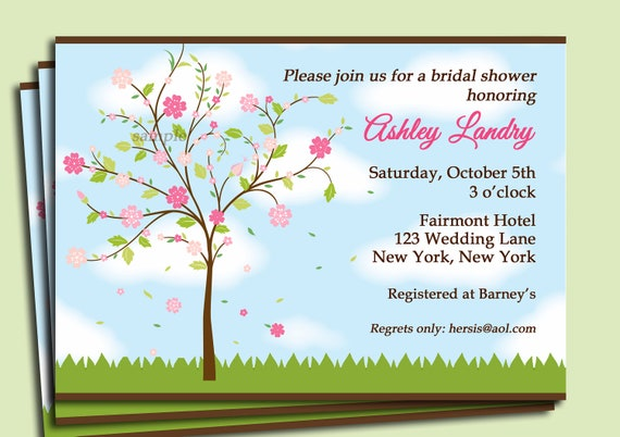 Wedding Shower Invitation Sayings: Flower Tree Invitation Printable Or Printed With FREE SHIPPING