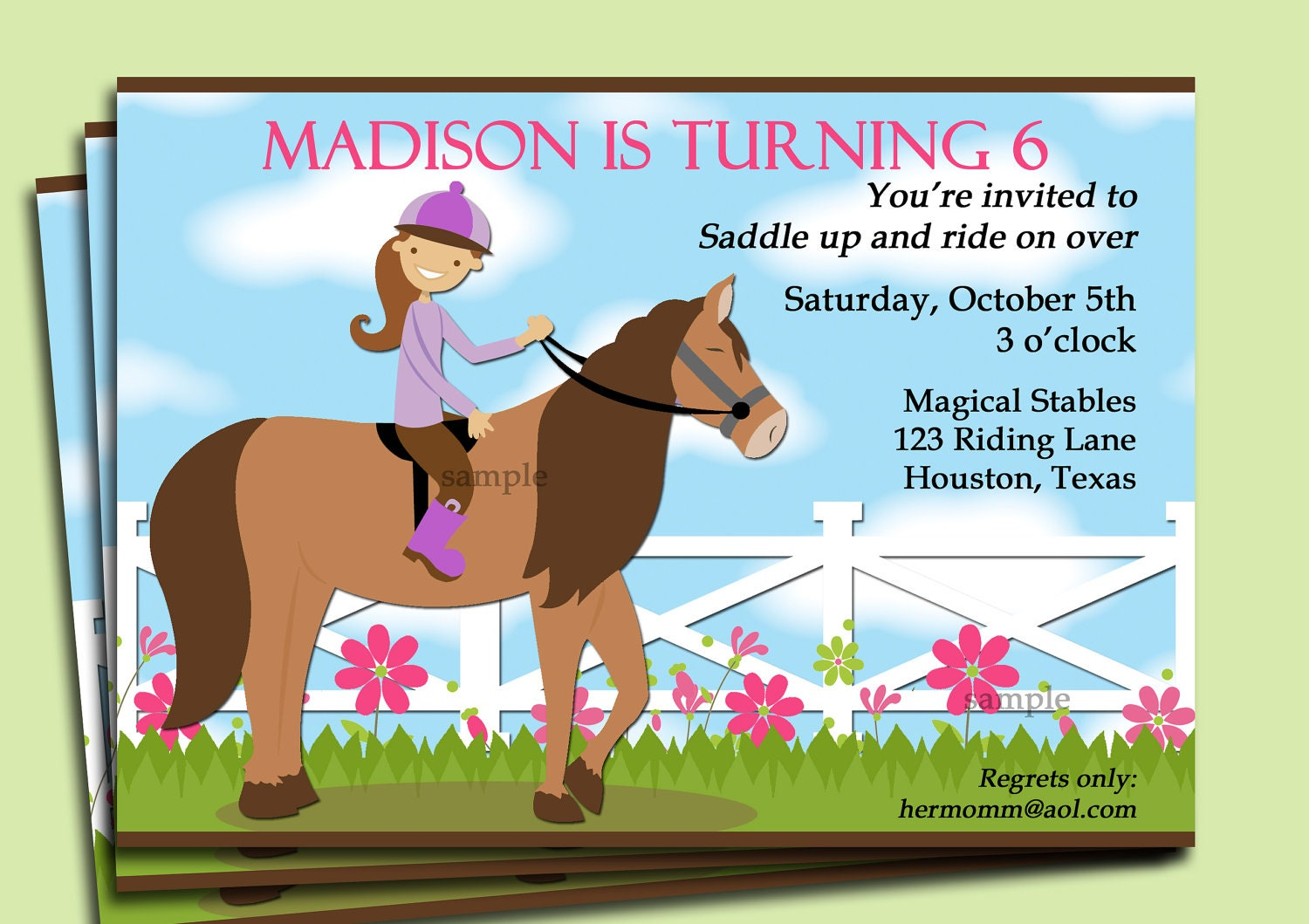 zoom - Horse Party Invitations