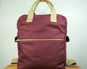 Cosmo Backpack in Mulberry Canvas/ Women/ Messenger/ Laptop Bag/Handmade in New York/ School Bag/ Tan Leather