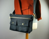 Megan Bag in Black Canvas/ Small Messenger/ Women/ Handbag/ Crossbody/ Shoulder Bag/ Handmade in New York