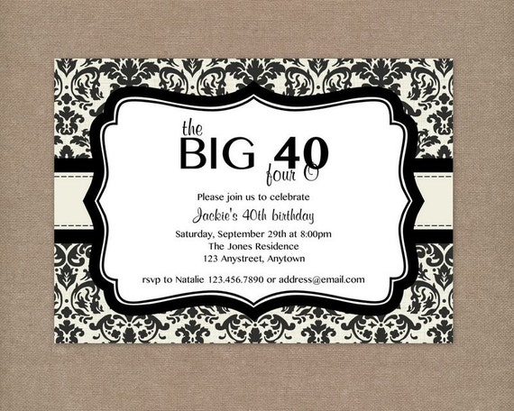 Printable Cream and Black Damask 40th Birthday Party Invitation