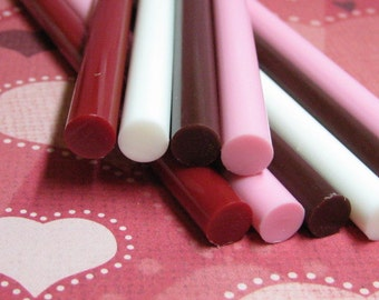 chocolate vanilla strawberry cherry red drizzle opaque hot glue stick 10pc kawaii deco sticks 4 color sampler white brown pink red