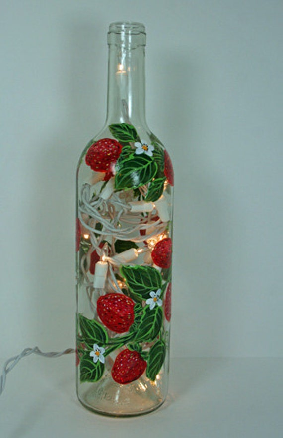 Hand Painted Wine Bottle Light with Strawberries, Red, White and Green Decor, Accent Light