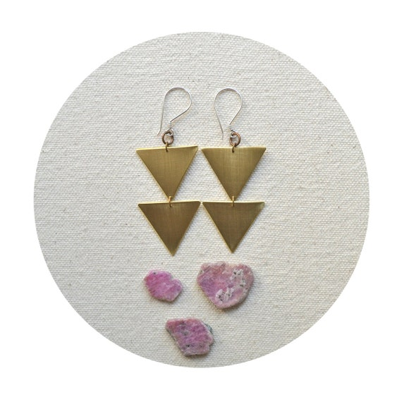 SALE Various Points Earrings- Hand Cut Brass Triangles on Sterling