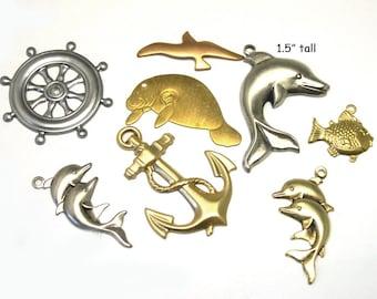 36 Brass Nautical Charms, nautical charm lot, charm lot, assorted, brass lot, destash lot, jewelry supplies