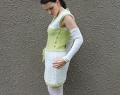 Knitted tunic dress, vest tunic,  natural white lime green dress,  tunic with golden buttons, short tunic,  repurposed eco friendly