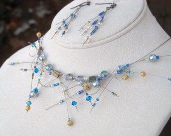 "Avant Garde Beaded Necklace ""Cosmic Radiation"" Sci Fi jewelry"