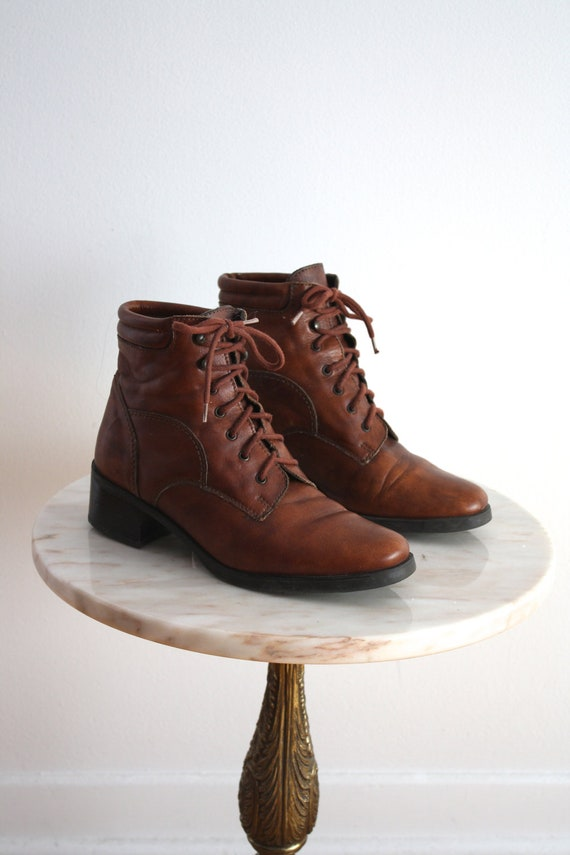 Lace Up Boots Ankle Leather Short Low Brown Booties