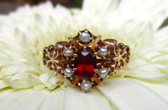 SALE- GORGEOUS Victorian Garnet and Pearl FLOWER Rose Gold RIng