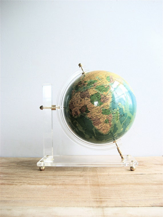 Vintage Globe on Lucite Stand