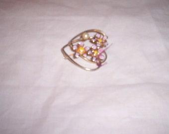 vintage pin brooch enamel flowers