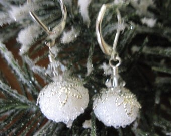 Christmas Earrings-Snowball Earrings-Sugar Lampwork Glass with Swarovski Crystals-Holiday-Party-Winter