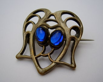 Antique German British Jugendstil Art Nouveau Pforzheim Silver Plated Brooch Pin Blue Glass Cabochon Stones Deutsch Silber Brosche Stein