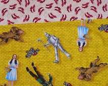 Wizard of Oz Fabric, Yellow Brick Road,  Dorothy Fabric, Ruby Slippers,  3 Fat Quarters, Tinman Scarecrow, Cowardly Lion, Over the Rainbow
