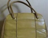 Vintage Pecan Tan Patchwork  Satchel Handbag Purse