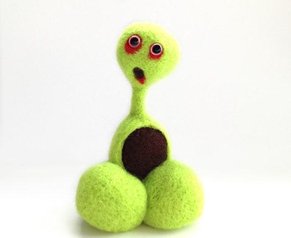 Halloween Felt Zombie - Needle Felted Green Monster Pheeple