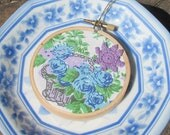 Purple and Blue Embroidery Hoop Art Ornament. Vintage Retro Fabric Flower Basket Green Christmas Decoration