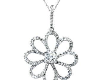 Vintage Antique Dangle Womens Diamond Pendant 18K White Gold New F VS .81CT Vintage Antique Dangle Womens Diamond Pendant 18K White Gold New