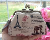 Handmade metal frame pouch / purse / makeup bag : travel diary linen cotton fabric