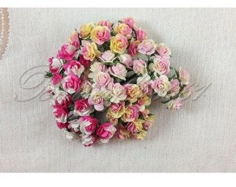 60 Mini Mixed Pink Yellow Handmade Mulberry Paper Wedding Scrapbooking Craft Roses HM-05