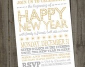 Light and Bright Happy New Year Holiday Card PRINTABLE Party Invitation