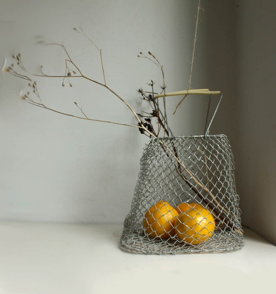 Small Vintage Folding Egg Basket. Soviet Galvanized Chicken Wire Basket for Eggs, Fruit, etc.