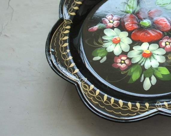 Russian Vintage Trinket Dish/ Serving Tray. Black Lacquered Handpainted. Traditional Rustic Folk Decor..