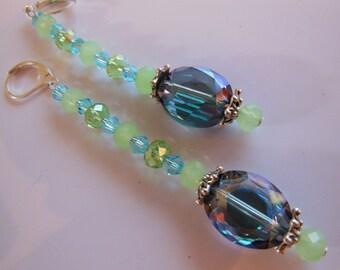 Blue Mint crystal dangle earrings  E175