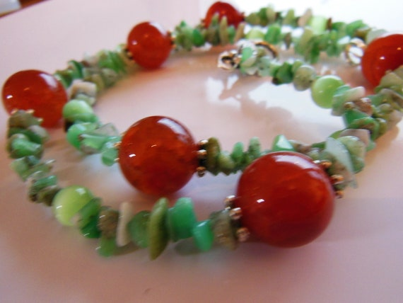 Cherry Tomatoes on mint,  Necklace  222