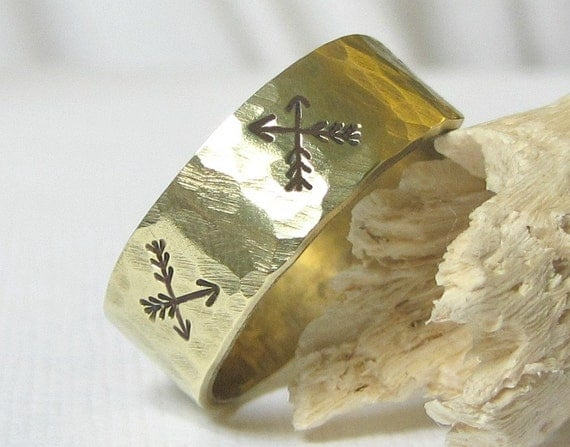 Rustic Arrow Ring- Brass Hammered Band Ring