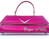 Couture Vintage Car inspired Handbag Made In USA- VIP Lounge- Coupe de Ville Vintage Pink Metal Flake Car Bag