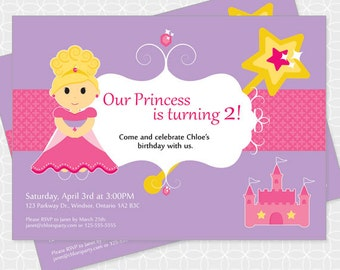 Princess Party Invitation, Printable file, Personalized