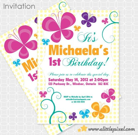 Party Printable Butterfly Party Birthday Theme Invitation – Butterfly Party Invitation