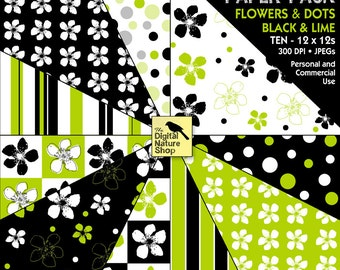 Black and Lime - Flowers and Dots - Digital Paper Pack - INSTANT DOWNLOAD - for Invites, Scrapbooking, Cards, Collage, Crafts and More
