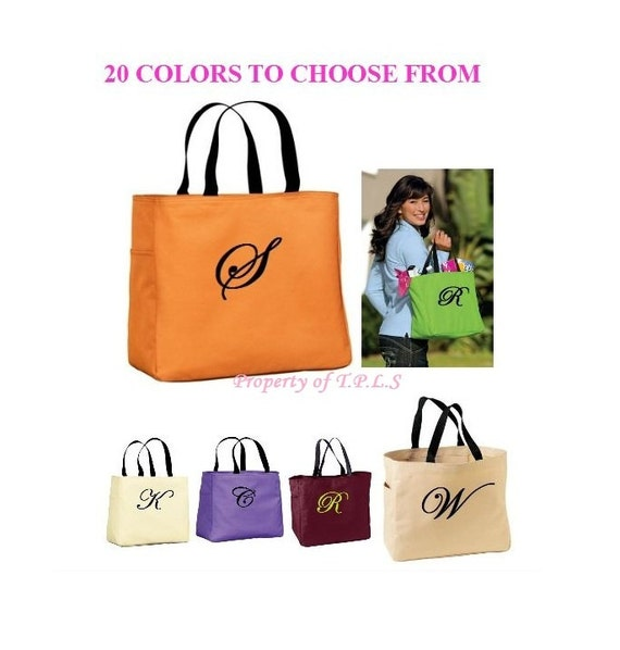 Personalized Bridesmaid Tote Bag Embroidered Gift Cheer Dance Monogrammed Green Baby Wedding 20 Colors