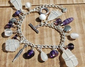 Sea glass Charm Bracelet in Purple and White. Wire wrapped glam beach girl bracelet from Scotland