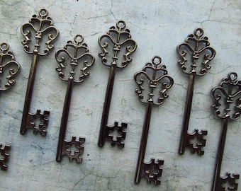 Stewart Gunmetal Black Skeleton Key  - Set of 10
