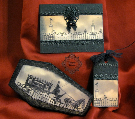 Halloween Coffin Box, Greeting Card and Tag - Victorian Hearse & Cemetery - Matching 3-piece Gift Set