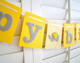 Happy Birthday Banner , Yellow and Gray Elephant Felt Birthday Banner FREE SHIPPING