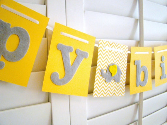 happy birthday banner yellow and gray elephant felt birthday