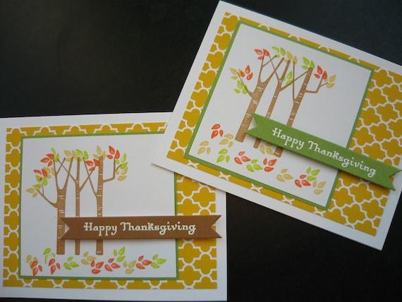 Thanksgiving Cards Autumn Birch Trees Set of 2