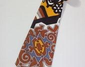 vintage 1970's Men's neck tie. Wild polyester print. Custom or Home made. Great drape...