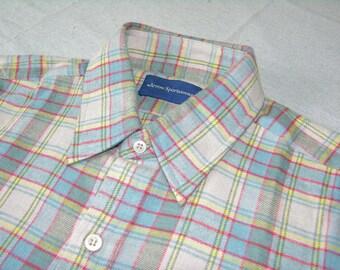 vintage 70's - 80's  -Arrow Sportswear- Men's long sleeve Flannel Shirt. 'New Old Stock'. Multicolor Plaid - All Cotton. Medium