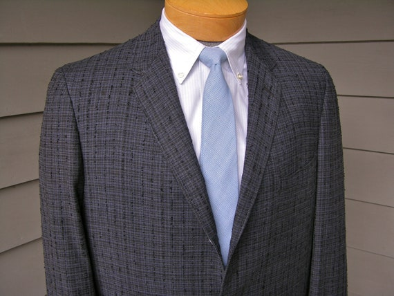 vintage 1950's Men's 3 / 2 roll sack front sport coat w/ skinny lapel. Robert Hall - Ivy Style meets Rockabilly. Size 40 R