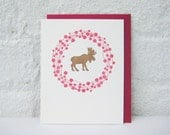 Holiday Moose Wreath - Letterpress Greeting Card