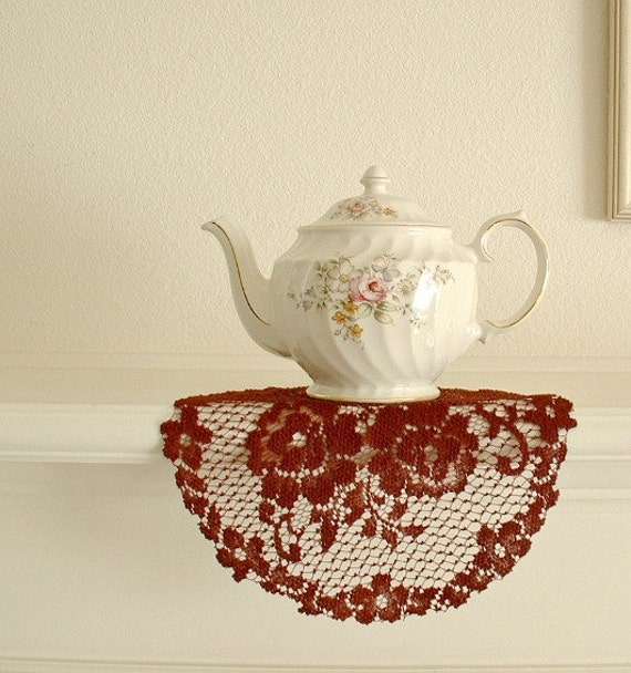 Dark red burgundy lace doily, large round shape, decorative roses design