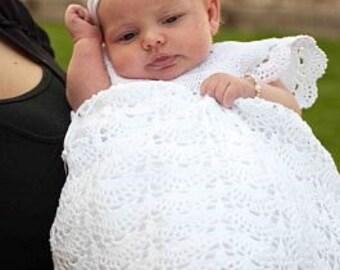 Extra Long Braelynn Dress, Chrisiening Dress, Christening Gown, Blessing Dress, Blessing Gown, Baptism, Christening, Blessing, Crochet, Baby
