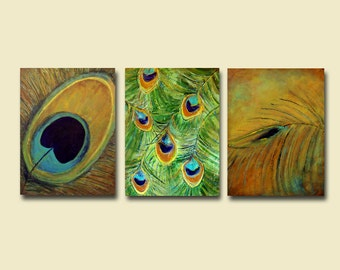 Abstract Realism Peacock Feathers Large Triptych Painting... 54 x 24... Custom Wall Art