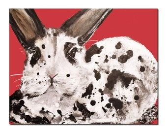 Black and White Rabbit print, Christmas Bunny Art Print, 8x10 Holiday red by Laura Sue