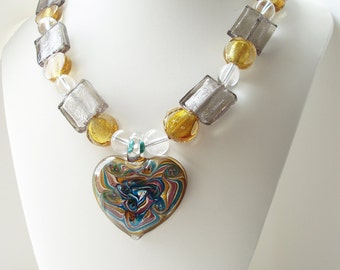 Chunky Heart Necklace, Lampwork Glass Jewelry